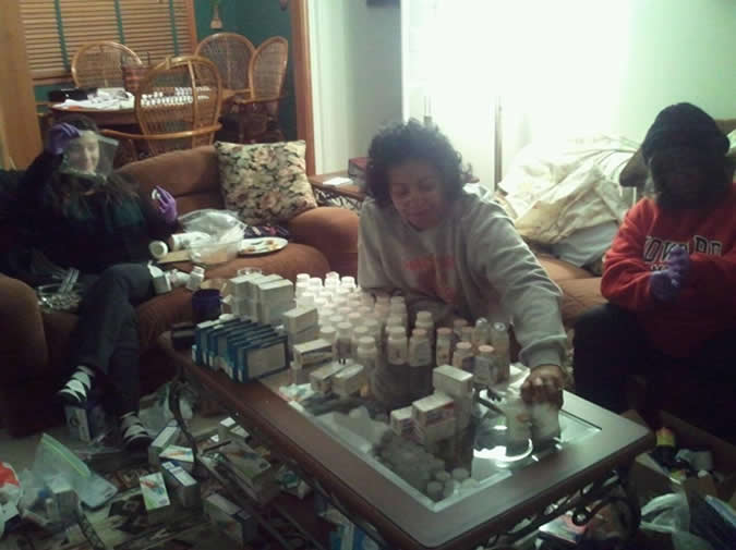 Haiti medication packing party 1-2-13